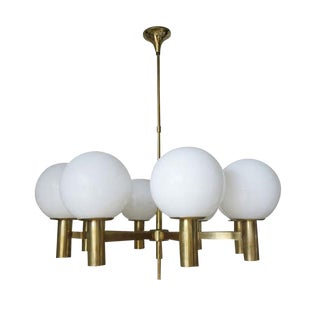 1960s Italian Sergio Mazza Murano Glass and Brass Chandelier For Sale