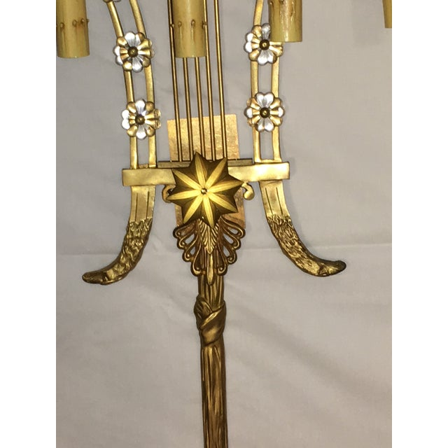 Louis XVI Style Harp Back Bronze Wall Sconces - A Pair For Sale In New York - Image 6 of 10