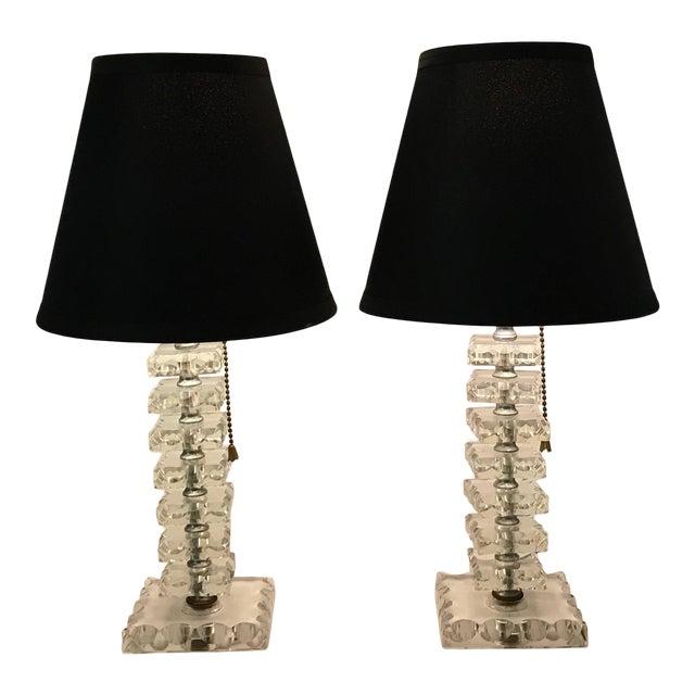 Pair Vintage Mid Century Glass Chrome Column Bedroom Vanity Table Lamps