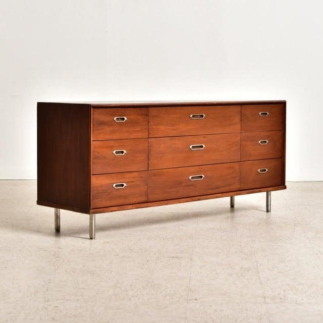 Brown Vintage 9 Drawer Dresser For Sale - Image 8 of 8