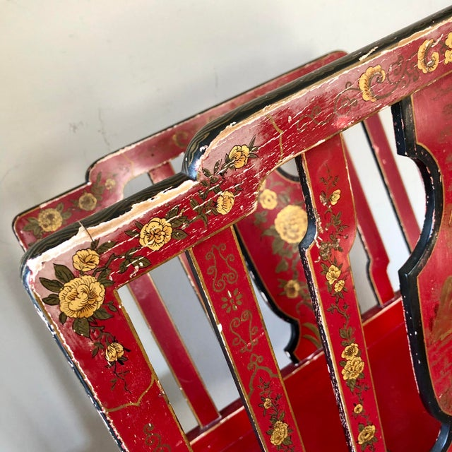 Early 20th Century French Chinoiserie Red Gold Lacquer Magazine Stand For Sale - Image 10 of 13