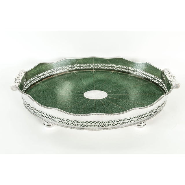 Mid-20th century English silver plated Shagreen interior high border gallery barware / serving tray with side handles. The...