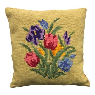 1960s Vintage Needlepoint Pillow For Sale