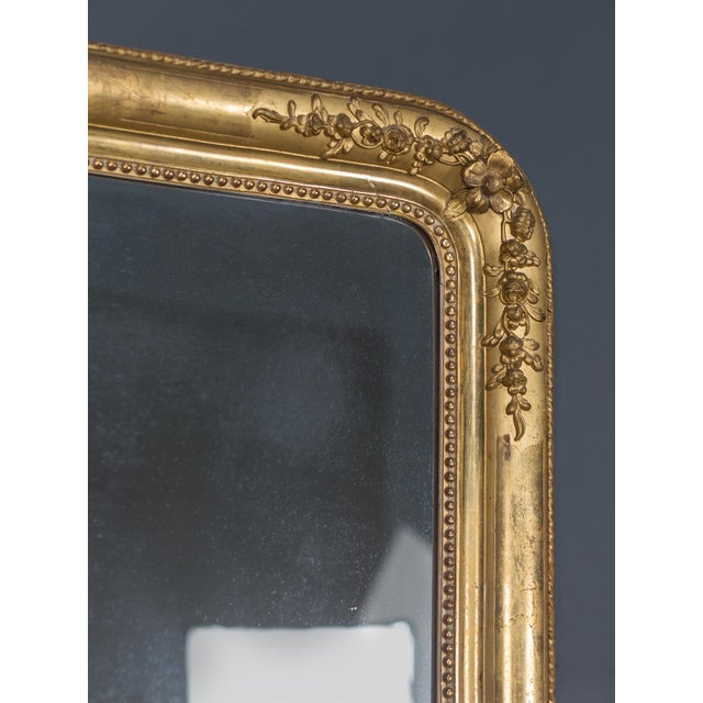 Antique French Louis Philippe Gold Leaf Mirror circa 1870 For Sale - Image 4 of 10