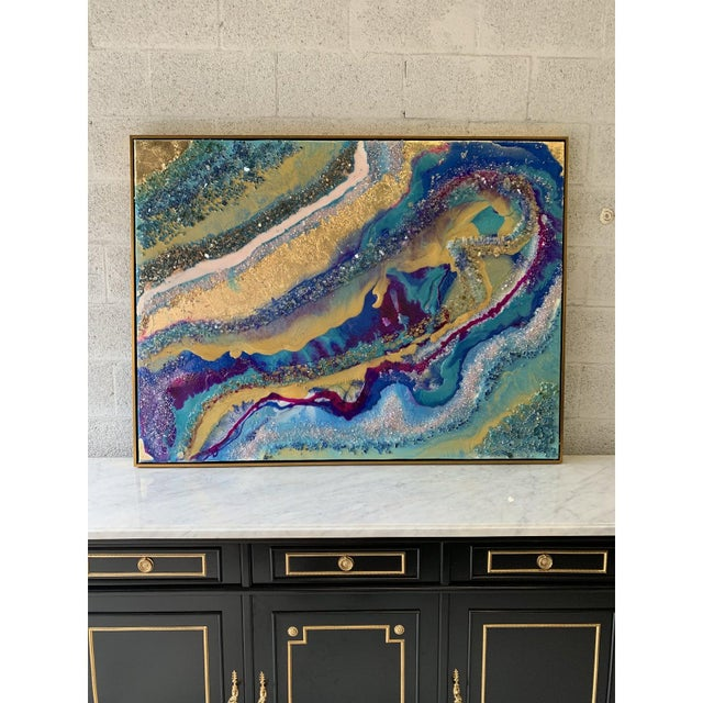 Abstract Framed Oil Painting With Resin and Rock Crystal on Canvas by Franchy For Sale - Image 4 of 13