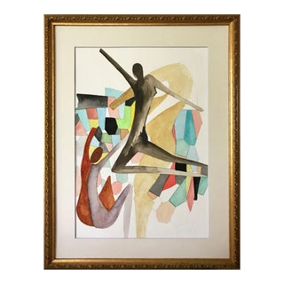Vintage Abstract Figural Watercolor Mid Century Art
