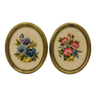 Pair Vintage Embroideries in Oval Giltwood Frames