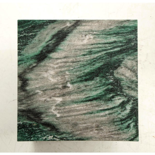 Stone Polar Verde Marble Cubes or Side Tables - a Pair For Sale - Image 7 of 11