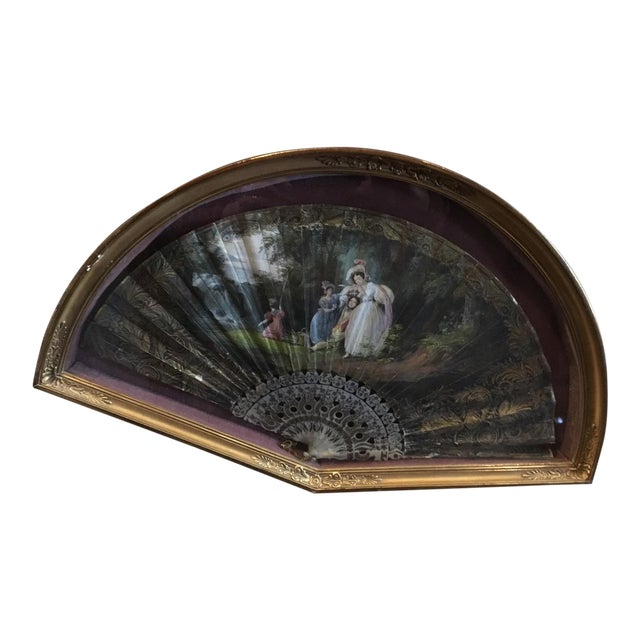 1830's Vintage French Hand Painted Watercolor Woman's Romantic Era Folding Fan For Sale