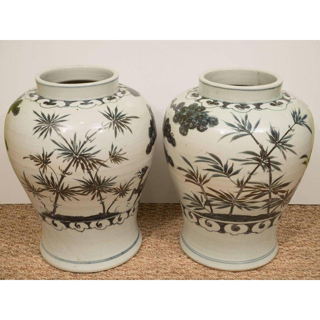 Pair of Black & White Chinese Export Jars - Image 5 of 9