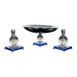 Art Deco Mautner Farber Chromium Plated Candle Holders & Serving Dish Blue - Set of 3 For Sale