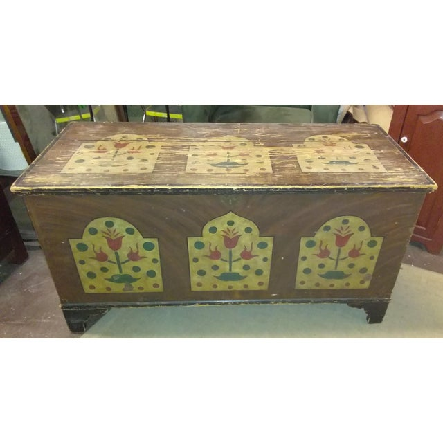Antique Folk Art Hand Painted Wedding Chest For Sale - Image 9 of 9