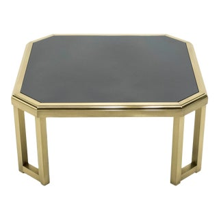 1970s Brass Black Opaline End Table by Maison Jansen For Sale