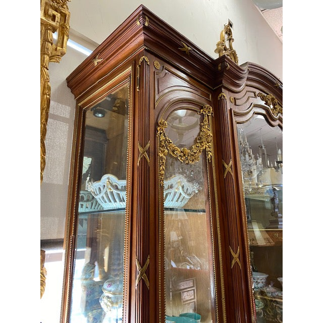 Metal 19th Century French Brozne Walnut and Bronze China Cabinet For Sale - Image 7 of 13