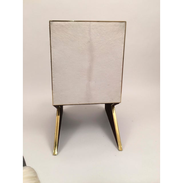White Two Toned Hide Dinning Chair by MarGian Studio For Sale - Image 8 of 11