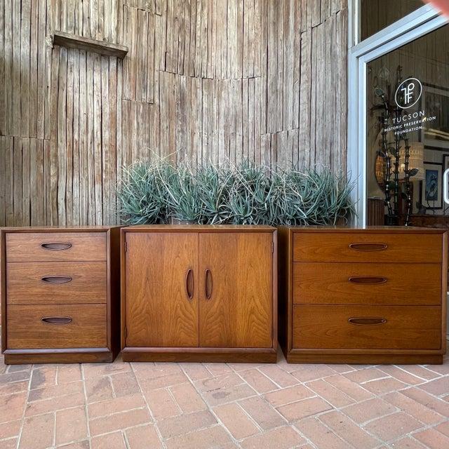 Henredon 'Circa 60' Walnut Cabinets - Set of 3 For Sale - Image 12 of 13