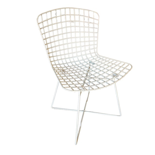"Set of 6 grey steel wire Bertoia side chair with ""X"" base by Knoll."