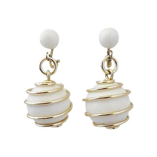 Trifari White Spiral Earrings, 1954 For Sale
