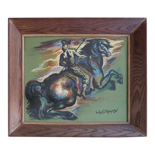 1953 Umberto Romano Horse and Rider Gouache Painting For Sale