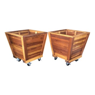 Massive Redwood Planters From Old Growth Redwood - a Pair For Sale