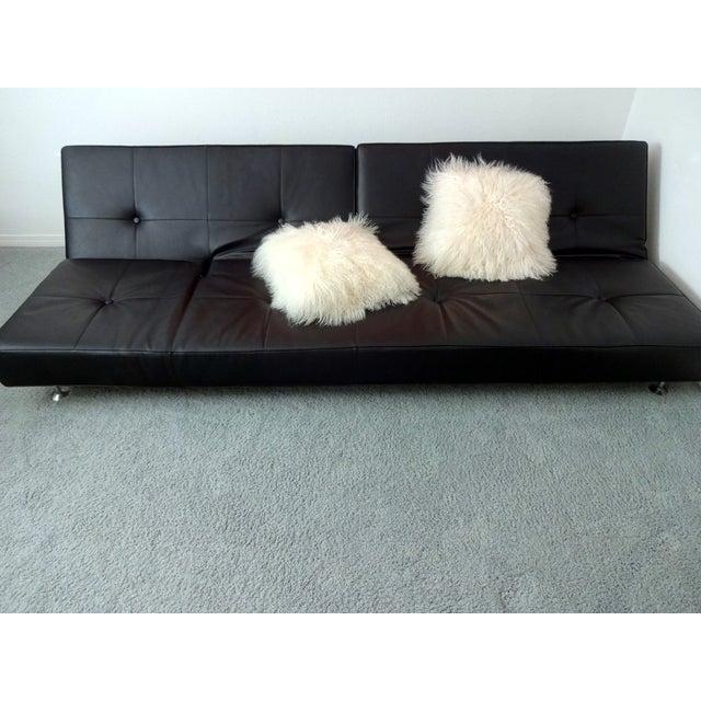 Edra Damier Italian Black Leather Sofa - Image 10 of 11