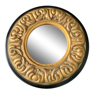 1990s Vintage Bombay Company Round Gold Accent Scroll Mirror For Sale