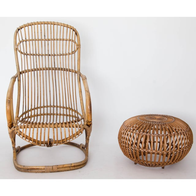 Brown Franco Albini Rattan Lounge Chair & Ottoman For Sale - Image 8 of 11