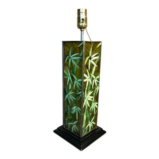 1970s Stained Glass Table Lamp With a Green Bamboo Motif For Sale