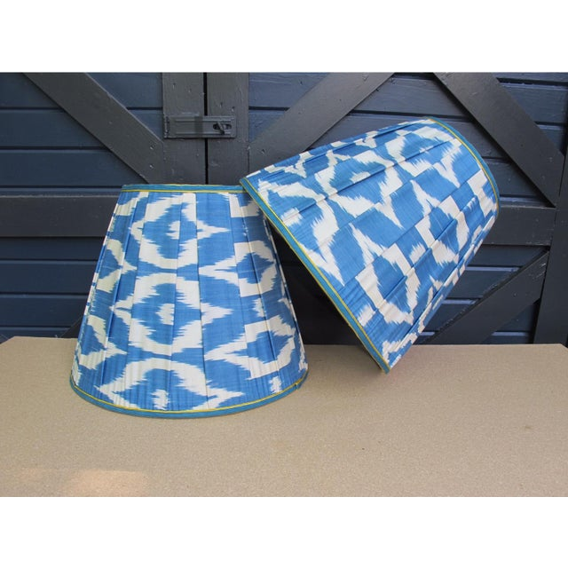 Blue and White Ikat Lampshades - a Pair For Sale - Image 4 of 4