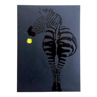 "Vintage 1960's Rare Mid Century Modern Israeli Pop Art "" Zebra "" Rachel Klein Silkscreen Print Poster For Sale"