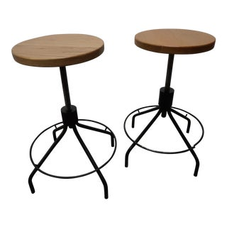Industrial Spinning Bar Stools- a Pair For Sale
