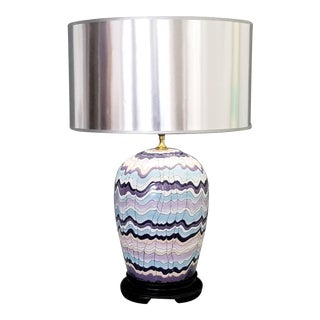 Large Vintage Chinese Porcelain Pink Blue and Lavender Table Lamp For Sale