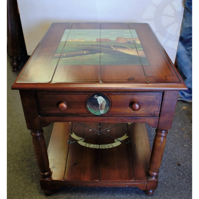 "This is a unique, one-of-a-kind, hand-painted St. Andrews ""Ireland"" Golf Country Club end table and is from the..."