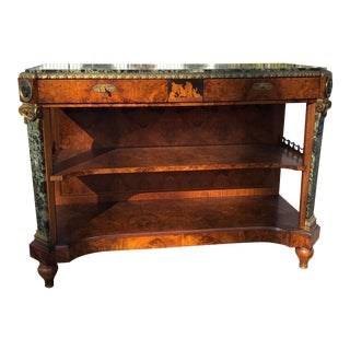French Louis XV Antique Burl Wood Fitted Marble Top Server For Sale