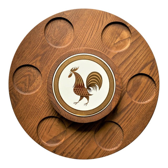 1960s Mid Century Modern Teak Lazy Susan With Gold Rooster For Sale