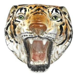Italian Mid Century Ceramic Tiger Head Planter For Sale