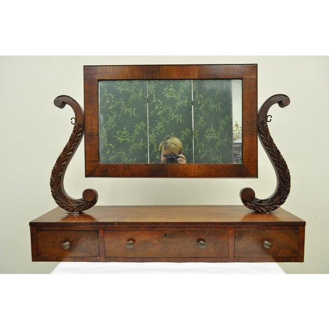 19th C. American Empire Carved Mahogany Shaving Vanity Mirror For Sale - Image 12 of 13