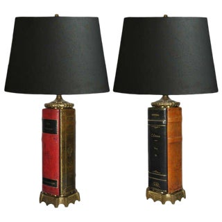1970s Vintage Brass & Tooled Leather Bound Book Form Table Lamps - A Pair For Sale