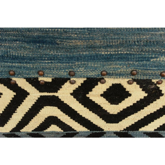 Textile Delora Black/Ivory Kilim Upholstered Handmade Storage Ottoman For Sale - Image 7 of 8