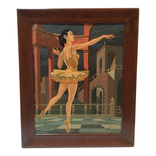 Large Vintage Painting by Number Ballerina