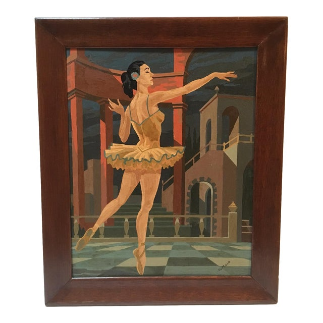 Large Vintage Painting by Number Ballerina For Sale
