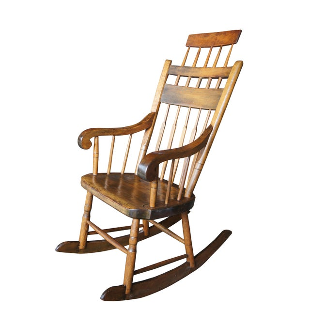 19th Century Antique Chestnut Windsor Comb Back Rocking Chair For Sale - Image 13 of 13