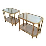 Image of Pair of Roche Bobois Brass, 2-Tiered End Tables For Sale