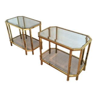 Pair of Roche Bobois Brass, 2-Tiered End Tables For Sale