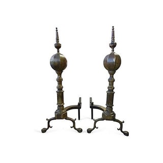 Large Brass and Iron Andirons - A Pair For Sale