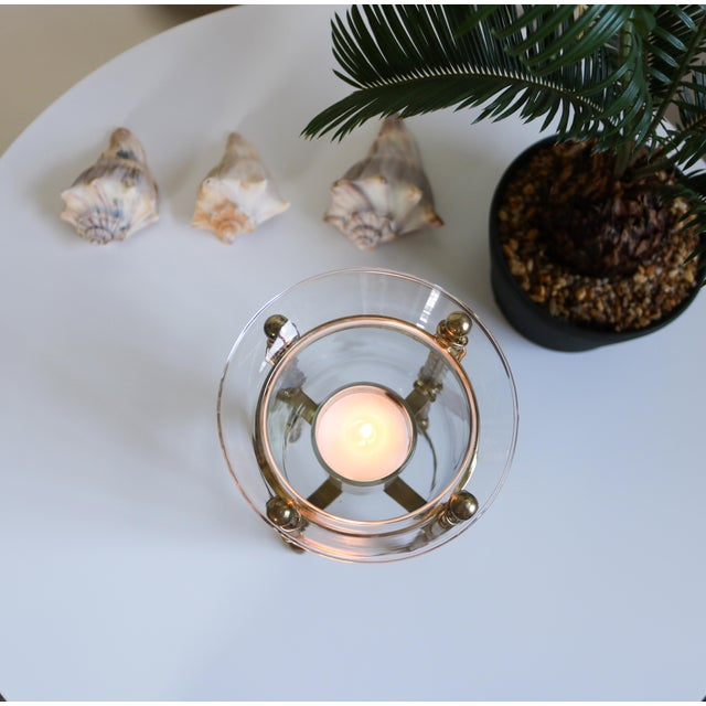Brass Mid-Century Tall Brass & Glass Candleholder For Sale - Image 7 of 13