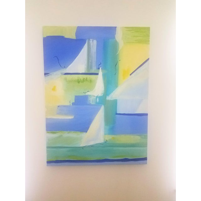"""The Sail"" Blues, Greens and Yellows Original Oil Painting by Christine Frisbee For Sale In Providence - Image 6 of 6"