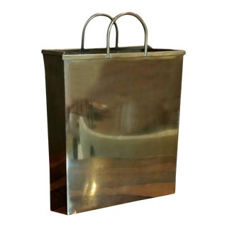 1970s Spain Sarreid, Ltd. Glam Brushed Brass Shopping Bag Umbrella Stand