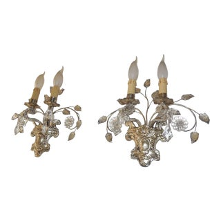 French Maison Bagues Style Silver Floral Beaded Sconces For Sale