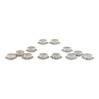 12 Moser Hand Blown Quatrefoil Gold & White Crystal Enamel Bowls w/ Under Plates For Sale